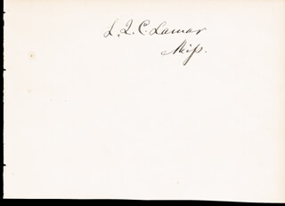 Autographs: ASSOCIATE JUSTICE LUCIUS Q. C. LAMAR - CLIPPED SIGNATURE