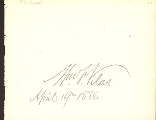 Autographs: WILLIAM F. VILAS - SIGNATURE(S) 04/19/1886