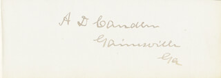 Autographs: ALLEN D. CANDLER - SIGNATURE(S) CO-SIGNED BY: WILLIAM HENRY WADSWORTH