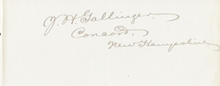 JACOB H. GALLINGER - AUTOGRAPH CO-SIGNED BY: SPENCER OLIVER FISHER