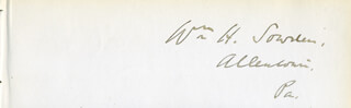WILLIAM H. SOWDEN - AUTOGRAPH
