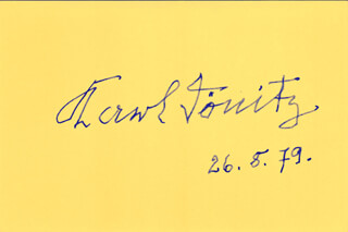 Autographs: GRAND ADMIRAL KARL DONITZ - SIGNATURE(S) 08/26/1979