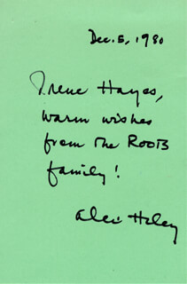 ALEX HALEY - AUTOGRAPH NOTE SIGNED 12/05/1980