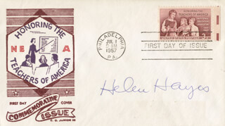 HELEN HAYES - FIRST DAY COVER SIGNED