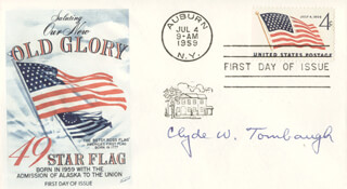 CLYDE WILLIAM TOMBAUGH - FIRST DAY COVER SIGNED