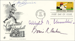 Autographs: ALBERT B. HAPPY CHANDLER - FIRST DAY COVER SIGNED CO-SIGNED BY: BOWIE KUHN, JOE CRONIN