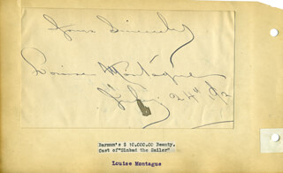 LOUISE MONTAGUE - AUTOGRAPH SENTIMENT SIGNED 07/24/1892 CO-SIGNED BY: CAMILLE D'ARVILLE, FLORA FINLAYSON