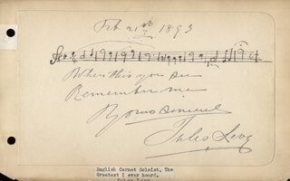 Autographs: JULES LEVY - AUTOGRAPH MUSICAL QUOTATION SIGNED 02/21/1893