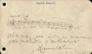 MANUEL KLEIN - AUTOGRAPH MUSICAL QUOTATION SIGNED 01/27/1903