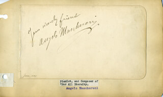 ANGELO MASCHERONI - AUTOGRAPH SENTIMENT SIGNED 1/1894
