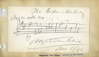 AUGUSTE VAN BIENE - AUTOGRAPH MUSICAL QUOTATION SIGNED 12/1896