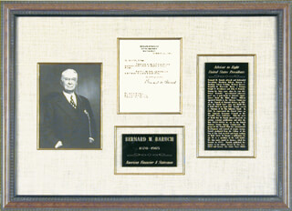 Autographs: BERNARD M. BARUCH - TYPED LETTER SIGNED 11/12/1964