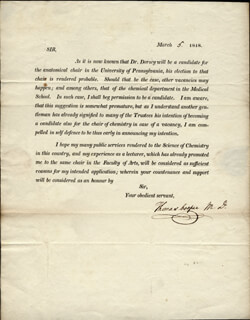 Autographs: THOMAS COOPER - PRINTED LETTER SIGNED IN INK 03/05/1818