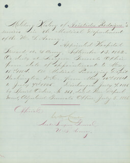 Autographs: BRIGADIER GENERAL CHARLES H. CRANE - MANUSCRIPT DOCUMENT SIGNED 07/05/1865