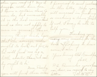 WILLIAM HIRAM RADCLIFFE - AUTOGRAPH LETTER SIGNED 09/02/1895