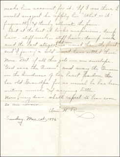 WILLIAM HIRAM RADCLIFFE - AUTOGRAPH LETTER SIGNED 03/01/1896