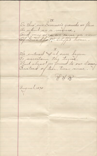 WILLIAM HIRAM RADCLIFFE - AUTOGRAPH POEM SIGNED 8/1895