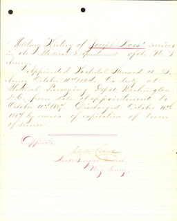 BRIGADIER GENERAL CHARLES H. CRANE - MANUSCRIPT DOCUMENT SIGNED 10/11/1867