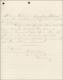 BRIGADIER GENERAL CHARLES H. CRANE - MANUSCRIPT DOCUMENT SIGNED 11/10/1865
