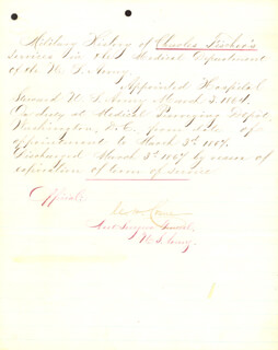 Autographs: BRIGADIER GENERAL CHARLES H. CRANE - MANUSCRIPT DOCUMENT SIGNED 03/03/1867