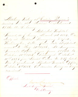 BRIGADIER GENERAL CHARLES H. CRANE - MANUSCRIPT DOCUMENT SIGNED 10/10/1868