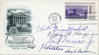THE WARREN E. BURGER COURT - FIRST DAY COVER SIGNED CO-SIGNED BY: ASSOCIATE JUSTICE POTTER STEWART, ASSOCIATE JUSTICE WILLIAM J. BRENNAN JR., ASSOCIATE JUSTICE THURGOOD MARSHALL, ASSOCIATE JUSTICE HARRY A. BLACKMUN, ASSOCIATE JUSTICE JOHN PAUL STEVENS