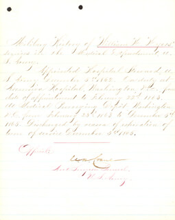 Autographs: BRIGADIER GENERAL CHARLES H. CRANE - MANUSCRIPT DOCUMENT SIGNED 12/05/1865