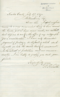 SAMUEL FRANCIS SMITH - AUTOGRAPH LETTER SIGNED 07/17/1890
