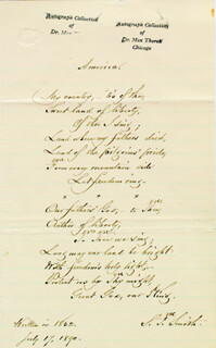 SAMUEL FRANCIS SMITH - AUTOGRAPH POEM SIGNED 07/17/1890