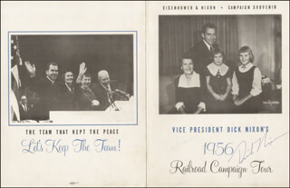 PRESIDENT RICHARD M. NIXON - MENU SIGNED CIRCA 1956 CO-SIGNED BY: FIRST LADY PATRICIA R. NIXON