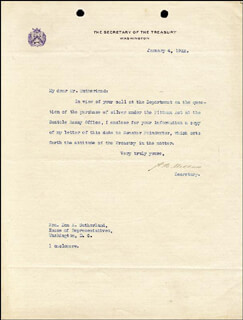 ANDREW MELLON - TYPED LETTER SIGNED 01/04/1922