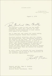PRESIDENT RICHARD M. NIXON - TYPED LETTER SIGNED 08/06/1976