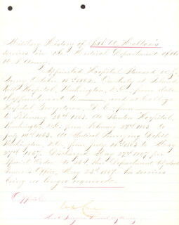 BRIGADIER GENERAL CHARLES H. CRANE - MANUSCRIPT DOCUMENT SIGNED 05/23/1867