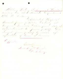 Autographs: BRIGADIER GENERAL CHARLES H. CRANE - MANUSCRIPT DOCUMENT SIGNED 06/09/1869