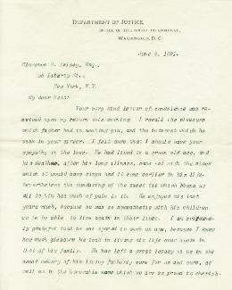 PRESIDENT WILLIAM H. TAFT - TYPED LETTER SIGNED 06/04/1891
