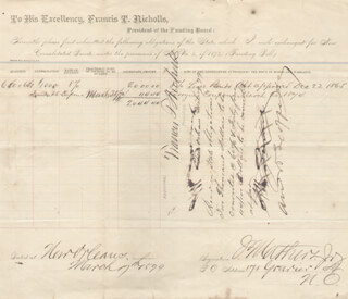 BRIGADIER GENERAL FRANCIS REDDING T. NICHOLLS - AUTOGRAPH ENDORSEMENT SIGNED 03/17/1879