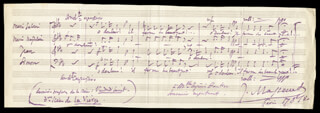 JULES MASSENET - INSCRIBED AUTOGRAPH MUSICAL QUOTATION SIGNED 08/17/1880