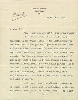 PRIME MINISTER ARTHUR J. BALFOUR (GREAT BRITAIN) - TYPED LETTER SIGNED 08/19/1909