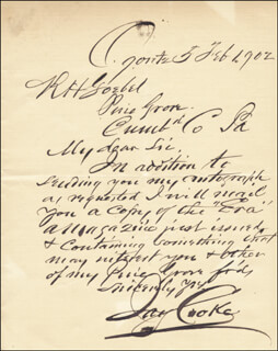 JAY COOKE - AUTOGRAPH LETTER SIGNED 02/05/1902