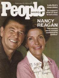 PRESIDENT RONALD REAGAN - INSCRIBED MAGAZINE COVER SIGNED CO-SIGNED BY: FIRST LADY NANCY DAVIS REAGAN