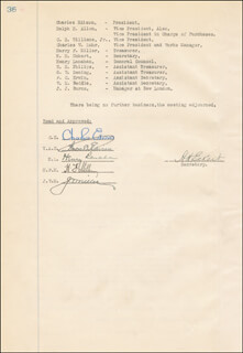THOMAS A. EDISON - CORPORATE MINUTES SIGNED 05/04/1927 CO-SIGNED BY: GOVERNOR CHARLES EDISON, HARRY F. MILLER, JOHN V. MILLER, HENRY LANAHAN, HOWARD H. ECKERT