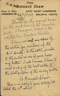 GEORGE BERNARD SHAW - AUTOGRAPH LETTER SIGNED 07/24/1949