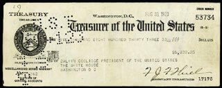 Autographs: PRESIDENT CALVIN COOLIDGE - PRESIDENTIAL PAY CHECK ENDORSED 08/31/1923