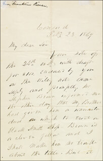 PRESIDENT FRANKLIN PIERCE - AUTOGRAPH LETTER SIGNED 02/28/1869