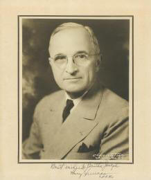 PRESIDENT HARRY S TRUMAN - PHOTOGRAPH MOUNT SIGNED