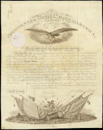 Autographs: PRESIDENT MARTIN VAN BUREN - MILITARY APPOINTMENT SIGNED 05/18/1837 CO-SIGNED BY: JOEL POINSETT
