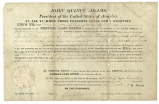Autographs: PRESIDENT JOHN QUINCY ADAMS - LAND GRANT SIGNED 08/20/1827 CO-SIGNED BY: GEORGE GRAHAM