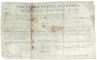 PRESIDENT JOHN QUINCY ADAMS - LAND GRANT SIGNED 05/12/1828 CO-SIGNED BY: GEORGE GRAHAM