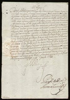KING PHILIP IV (SPAIN) - MANUSCRIPT LETTER SIGNED 06/18/1644 CO-SIGNED BY: ANTONIO CARRERO