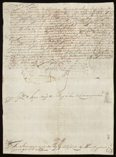 KING PHILIP IV (SPAIN) - DOCUMENT SIGNED 11/06/1641 CO-SIGNED BY: GERONIMO DE LECAMA, COUNT IÑIGO VELEZ DE GUEVARA Y TASSIS, FATHER FRANCISCO DE QUEVEDO, FATHER GREGORIO DE TAPIA